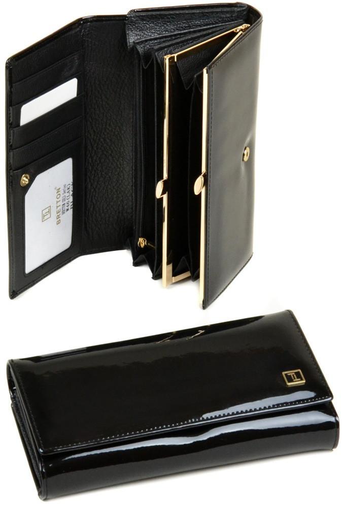 Женский кожаный кошелек BRETTON с визитницей лаковый