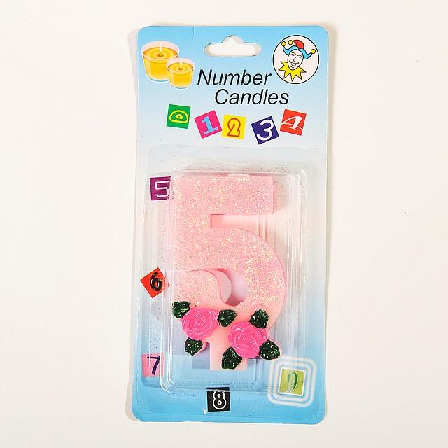 """Свеча цифра для торта """"5"""" с розочкой блестящая"""