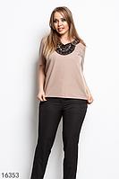 Женская блузка 16353 бежевый