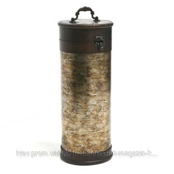 Коробка для винных бутылок Home4You BAO  D13xH35cm  bronze/wood  Wine case