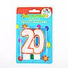 "Свеча в торт на день рождения цифра ""20"" юбилейная с блестками"