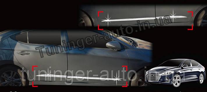 Хром молдинг на двери Hyundai Elantra 2015- (Auto clover)