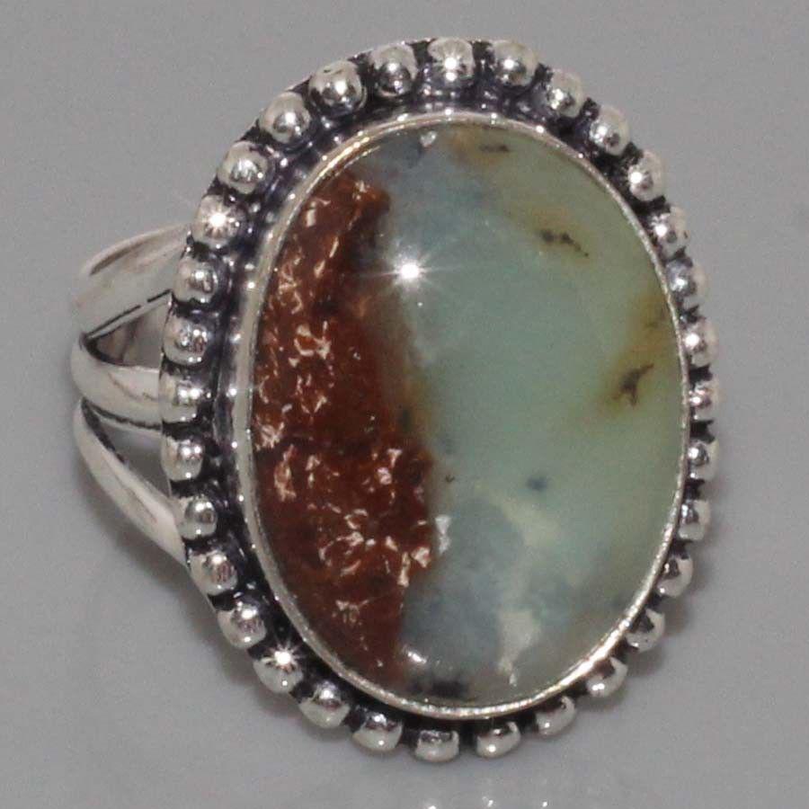 Кольцо  природный хризопраз в серебре.18 размер. Кольцо с яблочным хризопразом. Индия!