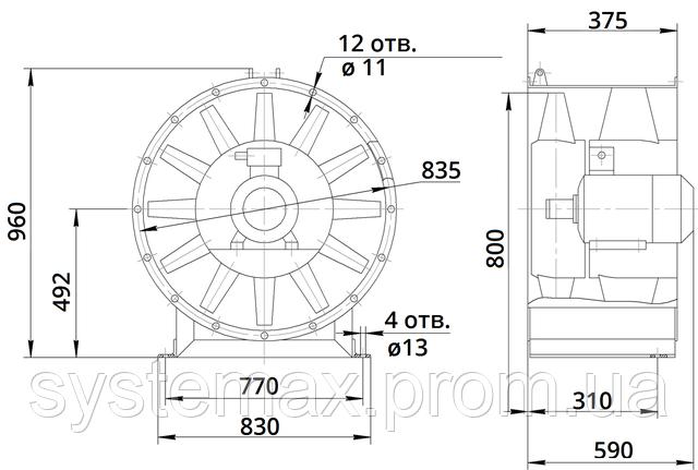 Габаритные и присоединительные размеры вентилятора В 2,3-130 8