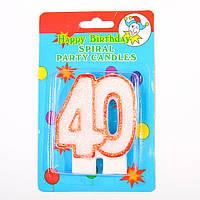 "Свеча в торт на день рождения цифра ""40"" юбилейная с блестками"