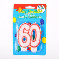 "Свеча в торт на день рождения цифра ""60"" юбилейная с блестками"