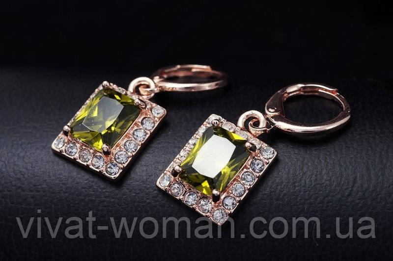 Серьги, покрытие золотом 18К, куб. цирконий зеленый, прямоугольник