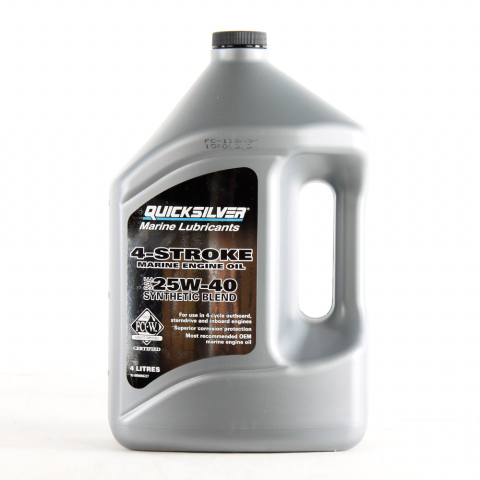 Масло моторное Quicksilver 25W-40 для бензиновых двигателей MerCruiser, VERADO, синтетика, (4л)