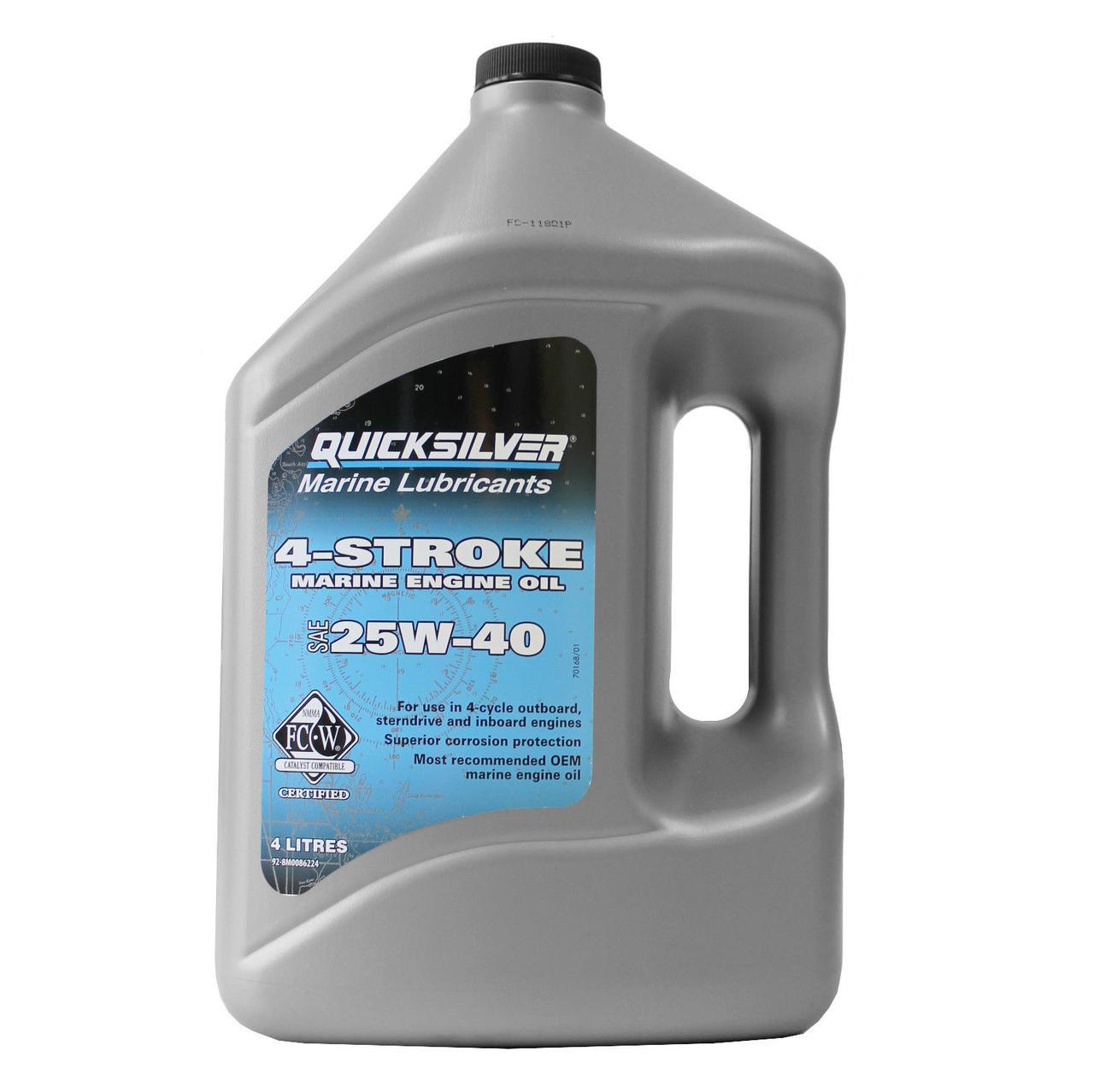 Масло моторное Quicksilver 25W-40 для бензиновых двигателей MerCruiser, минеральное, (4л)