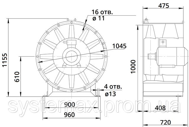 Габаритные и присоединительные размеры вентилятора В 2,3-130 10