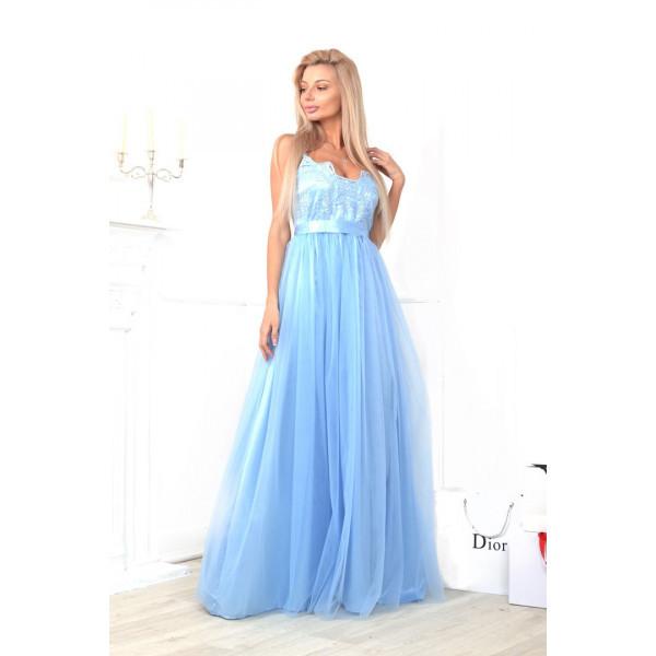 Шикарное платье в пол Выпускной голубое