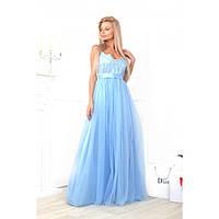 Шикарное платье в пол Выпускной голубое, фото 1