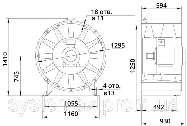 Габаритные и присоединительные размеры вентилятора В 2,3-130 12,5