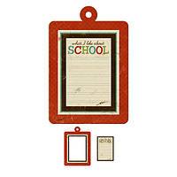 Большая фигурная рамка + тег с тиснением - Hall Pass - School , 42260-0