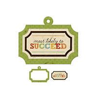 Большая фигурная рамка + тег с тиснением - Hall Pass - Succeed , 42261-7