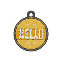 Фигурный тег с тиснением - Hello , 42515-1