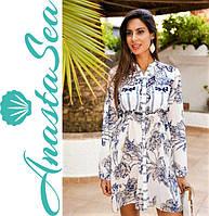 Женская удлиненная рубашка платье из натурального хлопка с рукавом и вышивкой  XL, 50