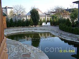 Строительство плавательных прудов.  Цена с учетом материалов и оборудования: