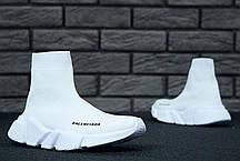 Кроссовки женские Balenciaga Speed Trainer Knit High Runner White баленсиага женские. ТОП Реплика ААА класса., фото 3