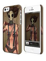 Чехол  для iPhone 5C девушка в противогазе