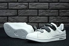 Женские кроссовки AD White Gray Stan Smith Women Velcro Shoes, А-д . ТОП Реплика ААА класса., фото 3