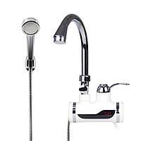 Бойлер с электронным таблом + душ №3, Электрический водяной душ с краном, Проточный водонагреватель-душ, фото 1