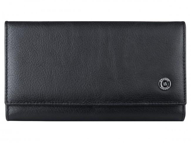 Вместительный женский кошелек BOSTON (Бостон) в черном цвете с отделением для кредитных карт. (B217 Black)