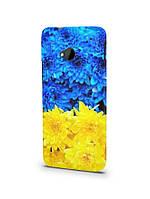 Чехол  для HTC ONE M7 желто синий цветы