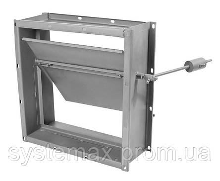Заслонка прямоугольная АЗД 192.000-02 (400х400 мм) с ручным приводом, фото 2