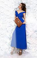 Женское платье №036 в пол синее