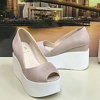 Туфли на платформе открытые замшевые . Босоножки сабо