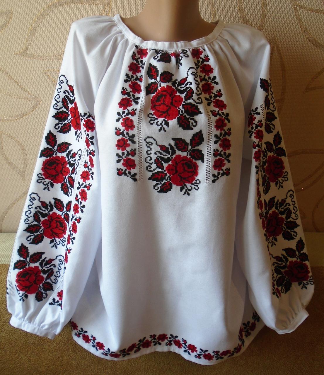 Жіноча сорочка-вишивака з довгим рукавом на білому домотканому полотні  ручна робота розмір M 7aea51b8872c3