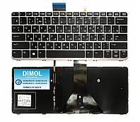 Оригинальная клавиатура для ноутбука HP Elitebook Folio 1012 G1, 1020 G1 series, ru, silver frame, подсветка