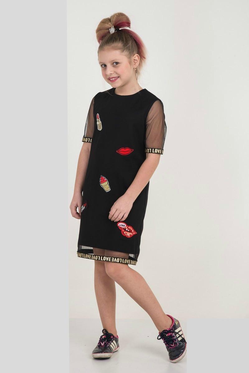 Платье для девочки, рост 122, стильное, модное, нарядное, чёрное