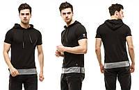 Мужская стильная футболка с капюшоном