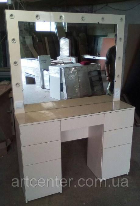 Стол с фасадами из МДФ для визажиста, визажный стол, стол для визажиста бежевый