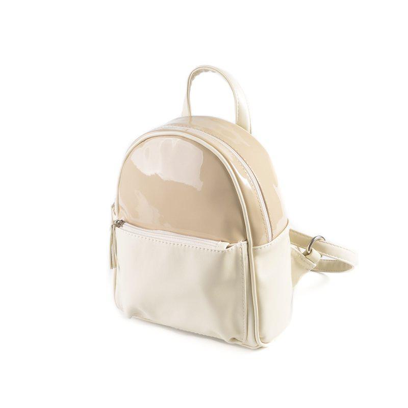 Маленький женский рюкзак М124-82/77 молочный лаковый бежевый мини