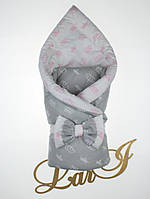 Демисезонный конверт-одеяло двухсторонний, серый с молочным, фото 1