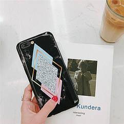 Чехол накладка на iPhone 6 plus/6splus черный мрамор с ромбами, плотный силикон