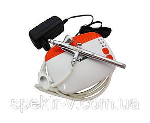 Набор для аэрографии (миникомпрессор + аэрограф с резьбовым соплом 0,3 мм)