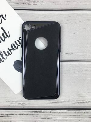 Чехол накладка на iPhone 7/8 черный, пластик и плотный силикон