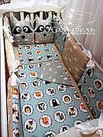 """Комплект в детскую кроватку с вышивкой  """"It's a boy"""". Бортик на 4 стороны и постельное"""