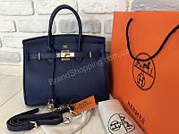 fd3a6dbafd37 Оригинальная сумочка из телячьей кожи Hermes Birkin 30см цвет синий 1867