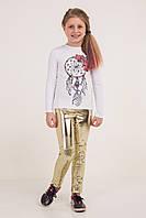Лосины для девочки, модные, эко кожа, с пайетками, золото, рост 134