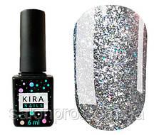 Гель-лак Kira Nails 24 Karat №002 (серебро с разноцветными блестками), 6 мл