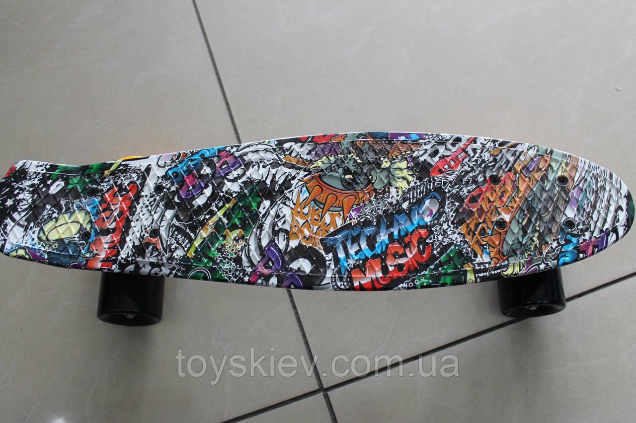 Скейт Пенни борд (Penny board) 8200-2 с рисунком без света 55см.