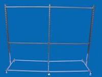 Перфорированная металическая стойка Остров под флейты-крючки на две секции для одежды