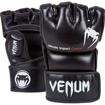 Перчатки для MMA Venum Impact MMA Gloves Skintex Leather Black, фото 2