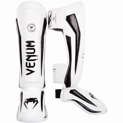 Защита голени Venum Elite Standup Shinguards White Black, фото 2