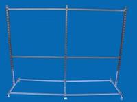 Перфорированная мобильная стойка Остров под флейты-крючки на две секции для одежды